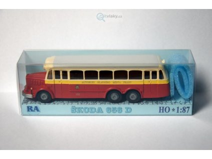 H0 - Škoda 656 D červeno/bílý / RA Došlý 100200
