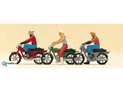H0 - Mopedisté, 3 ks figurek / Preiser 10126