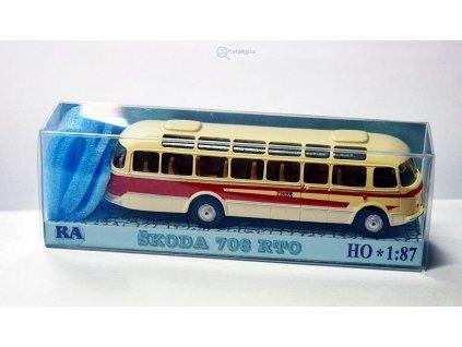 H0 - autobus Škoda 706 RTO červený/bílý / Došlý 101300