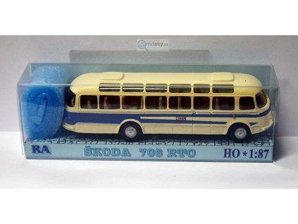 H0 - autobus Škoda 706 RTO bílá/modrá / Došlý 101301