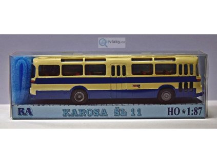 H0 - autobus Karosa ŠL 11 modrý, bílý pruh, 2x3-dílné dveře