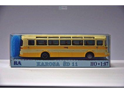 H0 - Karosa ŠD 11, bílá/žlutá, pruh / Došlý 102304