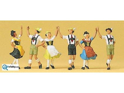 H0 - Tanečníci v kroji, Bavorsko, 6 figurek / Preiser 10241