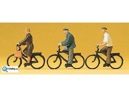H0 - Cyklisté, 3 figurky / Preiser 10333