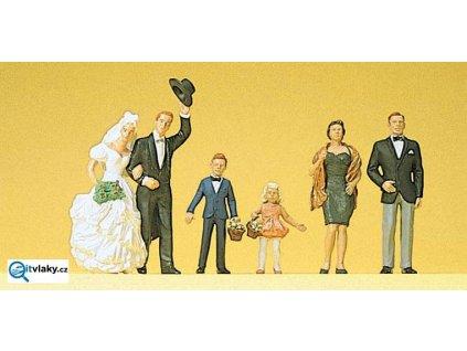 H0 - Novomanželé, hosté, 6 figurek / Preiser 10339