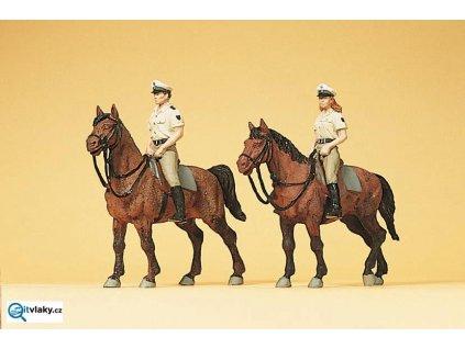 H0 - Policie na koních - Německo,  letní uniformy, 2 figurky / Preiser 10389