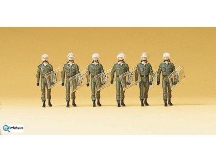 H0 - Pořádková Policie se štíty v chůzi, 6 figurek / Preiser 10392