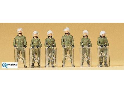 H0 - Pořádková Policie, štíty na zemi, 6 figurek / Preiser 10395