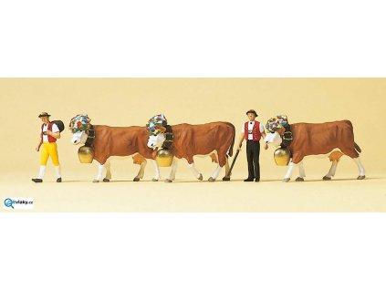 SLEVA! H0 - Krávy na slavnosti s pasáky, 5 figurek / Preiser 10404