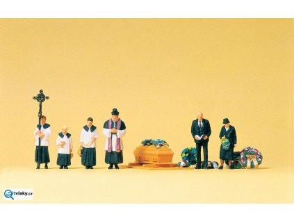 H0 - pohřeb s rakví a farářem - 6 figurek / Preiser 10520