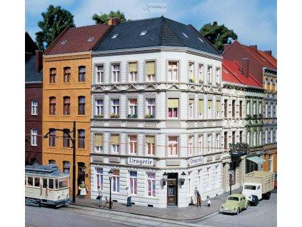H0 - Rohový dům na ul., stavebnice / Auhagen 11398