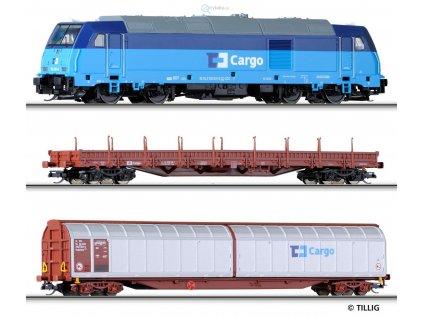 ARCHIV TT - START SET lokomotiva + nákladní vozy ČD CARGO / Tillig 01431