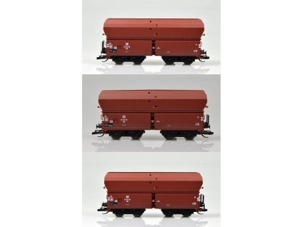 """ARCHIV TT - 3-dílný set výsypných vozů Oot """"Braunkohlezug 2 DR / TILLIG 01734 E"""