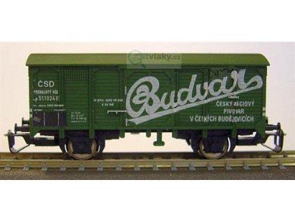 ARCHIV TT - krytý vůz zelený 2 osý BUDVAR, ČSD / 100011
