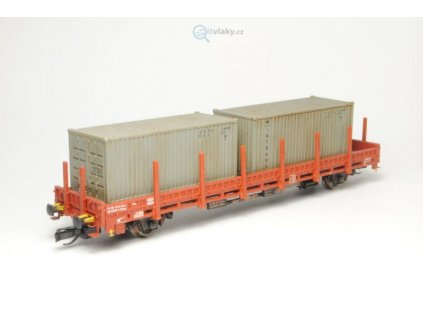 TT - Nízkostěnný vůz Kbkks 10 ŽSR/ZSSK + kontejnery, stavebnice/ SDV Model 12034