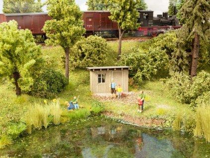 H0 - Pohoda u rybníka, figurky a kůlna / NOCH 12036