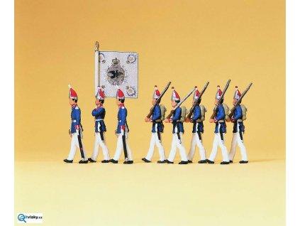 H0 - 1. Pěší oddíl - Prusko, 8 figurek / Preiser 12188