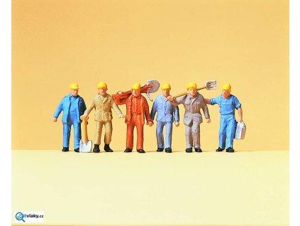 H0 - Traťoví dělníci, 6 figurek / Preiser 14033