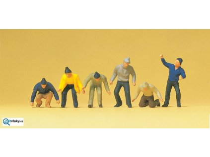H0 - Dělníci, 6 figurek / Preiser 14064