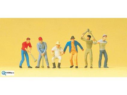 H0 - Dělníci, 6 figurek / Preiser 14075