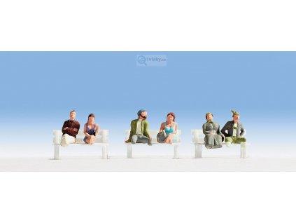 H0 - sedící cestující bez nohou 6 figurek / NOCH 15241