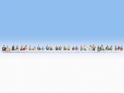 H0 - Velký Set - 30 ks sedících cestujících bez nohou / NOCH 16050
