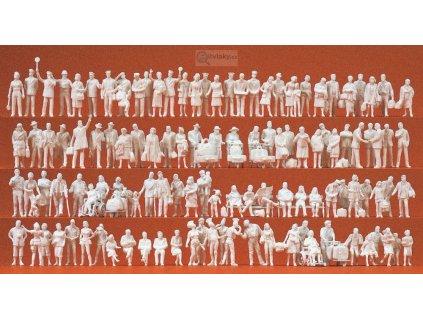 H0 - Mix 120 ks nebarvených figurek na nádraží / Preiser 16352