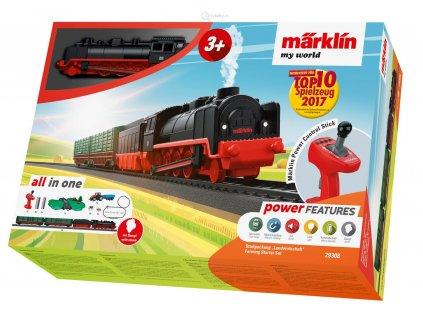 H0 - Dětský start set - parní kouřící vlak na farmu, zvuk / Marklin 29308