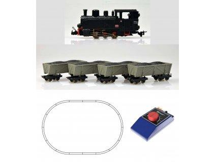 H0e - Start set: úzkorozchodná parní lokomotiva a 4 vozy s nákladem / ROCO 31029