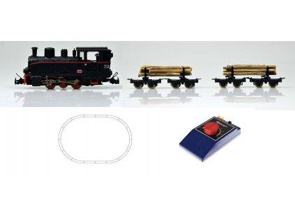 H0e - Start set: úzkorozchodná lokomotiva a 2 vozy se dřevem / ROCO 31030
