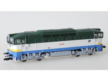 TT - Lokomotiva 753-001 ČD Brejlovec zeleno-šedý, modrý rám / KUEHN 33384