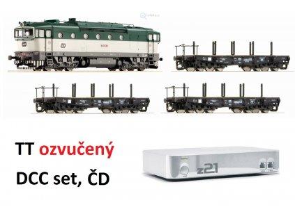 Vyprodáno TT Digital set ČD - loko Brejlovec 750 SOUND, 3 plošinové vozy, z21 / Roco 35012