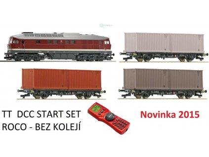 Vyprodáno TT -DCC Startset lokomotiva BR220 DR, vozy s kontejnery / Roco 35013