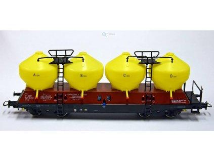 H0 - Jímkový vůz Uacs, žluto/hnědý Prachovice 086-3/ Bramos 3550 01