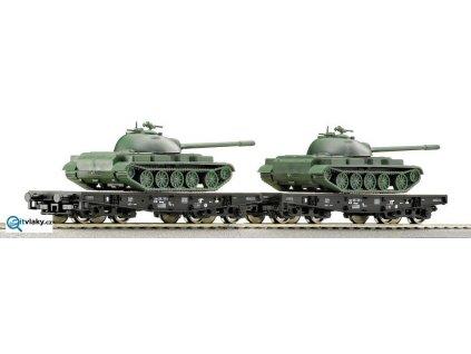 ARCHIV TT - vůz plošinový ložený tanky T55 2ks, ČSD / ROCO 37585 / Rlmmp