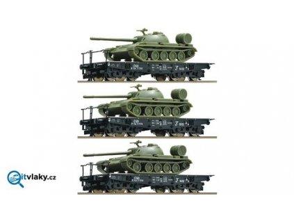 Vyprodáno TT - 3 vozy plošinové ložené tanky T55 3ks, ČSD / ROCO 37587