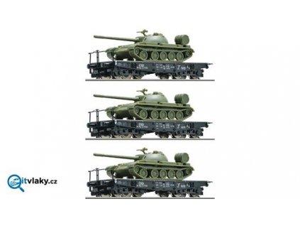 Vyprodáno TT - 3 plošinové vozy ložené tanky T55, ČSD / ROCO 37589