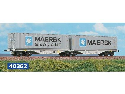 H0 - dvojitý kontejnerový vůz ČD Cargo Sggmrss + COSCO + MAERSK / A.C.M.E. 40364