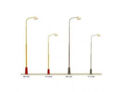 H0 - pouliční lampa na ocelovém žlutém stožáru, bílá LED / JM Detail 412201