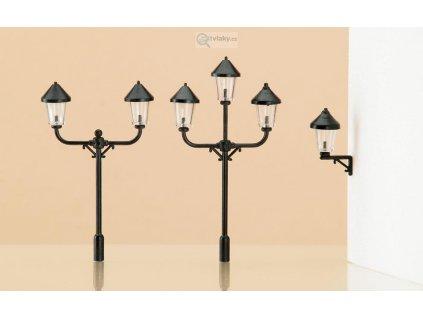 H0/TT - 4 parkové a 2 nástěnné lampy / Auhagen 42631