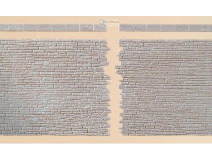 H0/TT - 2x zeď s nepravidelných cihel nekonečná / Auhagen 42649