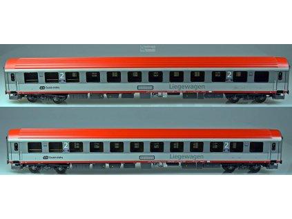 H0 - set 2 lehátkových vozů ČD Bcmz59, šedá, červená střecha / LS Models LEMKE 48150