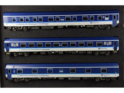 H0 - set 3 vozů ČD modro šedá barva, modra střecha/ LS Models LEMKE 48152