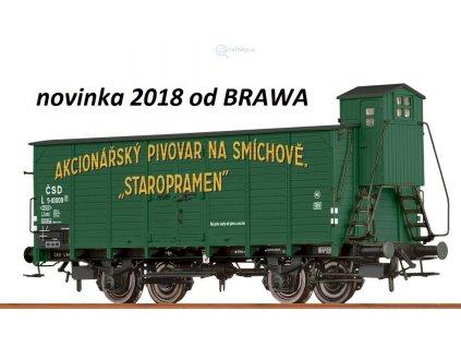 H0 - pivovarský vůz s budkou ČSD ,,STAROPRAMEN,,/ Brawa 49734