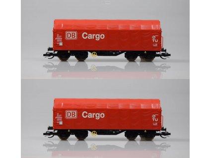 TT - Set 2 plošinových vozů s plachtou Shimmns DB CARGO, nové čísla/ KUEHN 51130