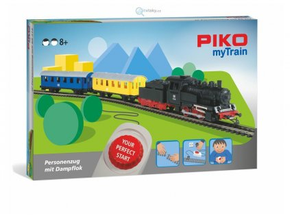 SLEVA! H0 - PIKO myTrain Start Set - parní lokomotiva + 2 osobní vagóny / Piko 57091