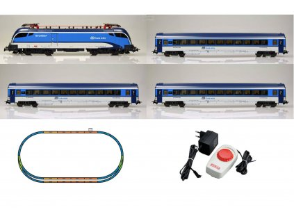 AKCE! H0 - startset Railjet, ČD Najbrt, koleje, analog. ovladač / PIKO 57173