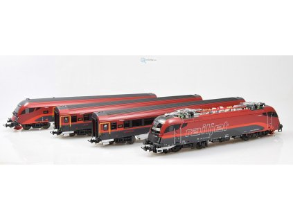 "H0 - El. lokomotiva Rh 1216 ""RAILJET"" + 3 vozy ÖBB / PIKO 58131"