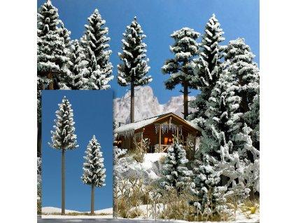 370096 h0 2 zasnezene stromky s kmenem 130 a 195 mm busch 6153