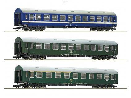 """ARCHIV H0 - set tří osobních vozů D270 """"Meridian"""" DR, ČSD, MAV -  2.část/ ROCO 64196"""